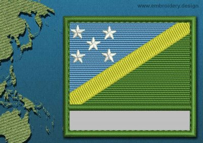 This Flag of Solomon Islands Customizable Text  with a Colour Coded border design was digitized and embroidered by www.embroidery.design.