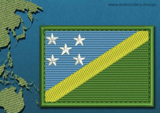 This Flag of Solomon Islands Rectangle with a Colour Coded border design was digitized and embroidered by www.embroidery.design.