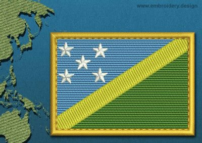 This Flag of Solomon Islands Rectangle with a Gold border design was digitized and embroidered by www.embroidery.design.