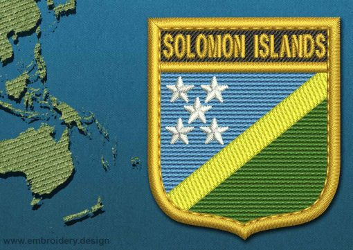 This Flag of Solomon Islands Shield with a Gold border design was digitized and embroidered by www.embroidery.design.