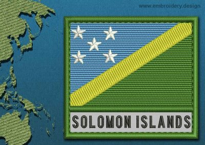 This Flag of Solomon Islands Text with a Colour Coded border design was digitized and embroidered by www.embroidery.design.