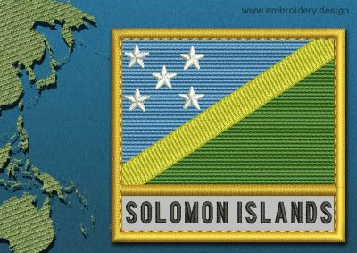 This Flag of Solomon Islands Text with a Gold border design was digitized and embroidered by www.embroidery.design.