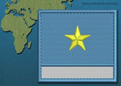 This Flag of Somalia Customizable Text  with a Colour Coded border design was digitized and embroidered by www.embroidery.design.