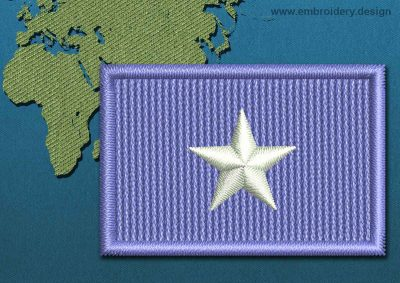 This Flag of Somalia Mini with a Colour Coded border design was digitized and embroidered by www.embroidery.design.