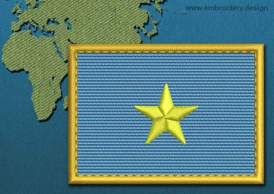 This Flag of Somalia Rectangle with a Gold border design was digitized and embroidered by www.embroidery.design.