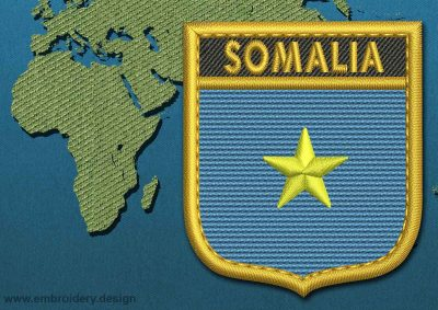 This Flag of Somalia Shield with a Gold border design was digitized and embroidered by www.embroidery.design.