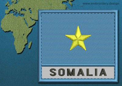 This Flag of Somalia Text with a Colour Coded border design was digitized and embroidered by www.embroidery.design.
