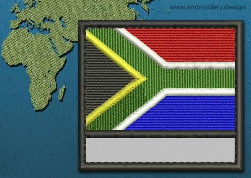 This Flag of South Africa Customizable Text  with a Colour Coded border design was digitized and embroidered by www.embroidery.design.