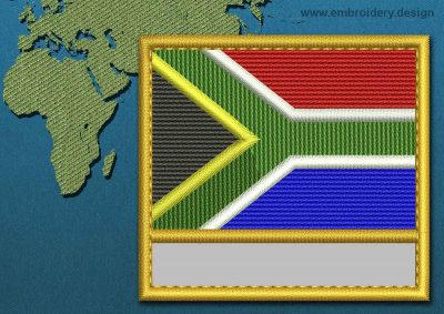 This Flag of South Africa Customizable Text  with a Gold border design was digitized and embroidered by www.embroidery.design.