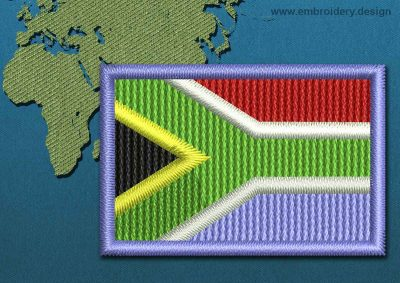 This Flag of South Africa Mini with a Colour Coded border design was digitized and embroidered by www.embroidery.design.