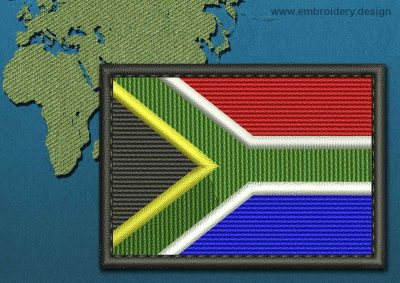 This Flag of South Africa Rectangle with a Colour Coded border design was digitized and embroidered by www.embroidery.design.