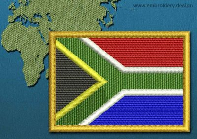 This Flag of South Africa Rectangle with a Gold border design was digitized and embroidered by www.embroidery.design.