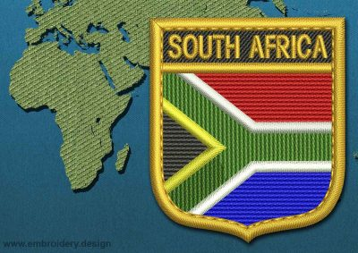 This Flag of South Africa Shield with a Gold border design was digitized and embroidered by www.embroidery.design.