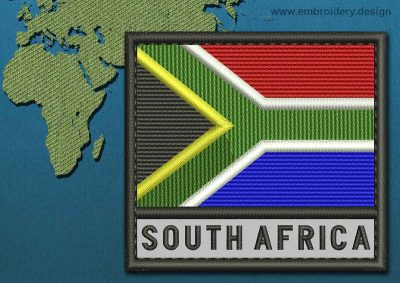 This Flag of South Africa Text with a Colour Coded border design was digitized and embroidered by www.embroidery.design.