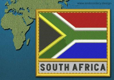 This Flag of South Africa Text with a Gold border design was digitized and embroidered by www.embroidery.design.