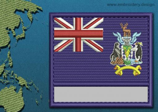 This Flag of South Georgia and South Sandwich Islands Customizable Text  with a Colour Coded border design was digitized and embroidered by www.embroidery.design.