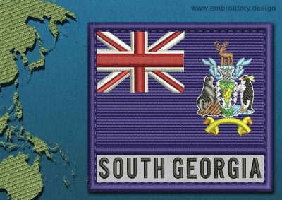 This Flag of South Georgia and South Sandwich Islands Text with a Colour Coded border design was digitized and embroidered by www.embroidery.design.