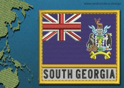 This Flag of South Georgia and South Sandwich Islands Text with a Gold border design was digitized and embroidered by www.embroidery.design.