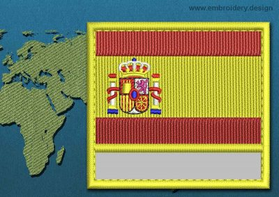 This Flag of Spain Customizable Text  with a Colour Coded border design was digitized and embroidered by www.embroidery.design.