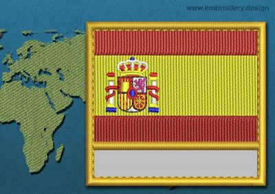 This Flag of Spain Customizable Text  with a Gold border design was digitized and embroidered by www.embroidery.design.