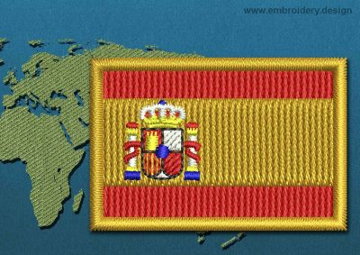 This Flag of Spain Mini with a Colour Coded border design was digitized and embroidered by www.embroidery.design.