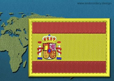 This Flag of Spain Rectangle with a Colour Coded border design was digitized and embroidered by www.embroidery.design.