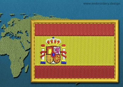 This Flag of Spain Rectangle with a Gold border design was digitized and embroidered by www.embroidery.design.