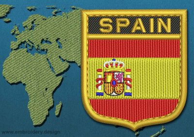 This Flag of Spain Shield with a Gold border design was digitized and embroidered by www.embroidery.design.