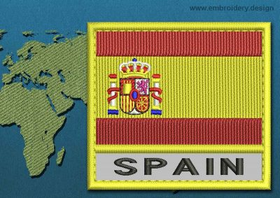 This Flag of Spain Text with a Colour Coded border design was digitized and embroidered by www.embroidery.design.