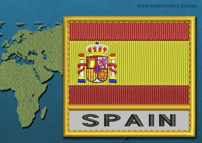 This Flag of Spain Text with a Gold border design was digitized and embroidered by www.embroidery.design.