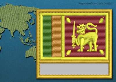 This Flag of Sri Lanka Customizable Text  with a Gold border design was digitized and embroidered by www.embroidery.design.