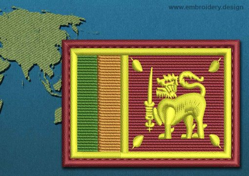 This Flag of Sri Lanka Rectangle with a Colour Coded border design was digitized and embroidered by www.embroidery.design.