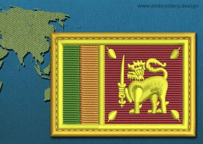 This Flag of Sri Lanka Rectangle with a Gold border design was digitized and embroidered by www.embroidery.design.