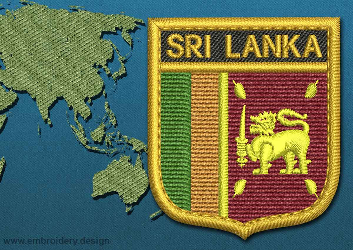 Design embroidery flag of sri lanka shield with gold trim