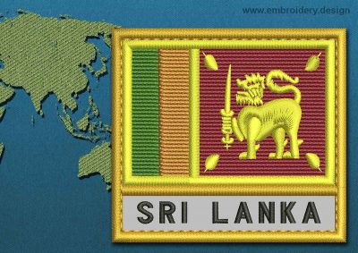 This Flag of Sri Lanka Text with a Gold border design was digitized and embroidered by www.embroidery.design.