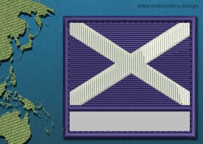 This Flag of St Andrews Cross Customizable Text  with a Colour Coded border design was digitized and embroidered by www.embroidery.design.