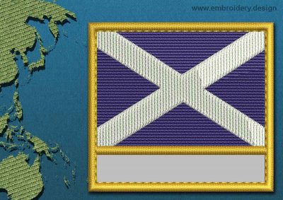 This Flag of St Andrews Cross Customizable Text  with a Gold border design was digitized and embroidered by www.embroidery.design.