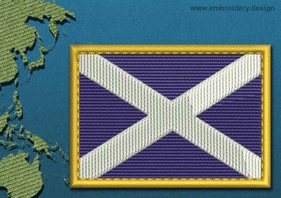 This Flag of St Andrews Cross Rectangle with a Gold border design was digitized and embroidered by www.embroidery.design.
