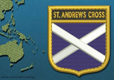 This Flag of St Andrews Cross Shield with a Gold border design was digitized and embroidered by www.embroidery.design.