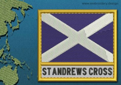 This Flag of St Andrews Cross Text with a Gold border design was digitized and embroidered by www.embroidery.design.