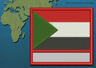This Flag of Sudan Customizable Text  with a Colour Coded border design was digitized and embroidered by www.embroidery.design.