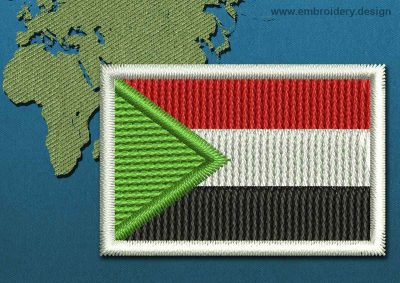 This Flag of Sudan Mini with a Colour Coded border design was digitized and embroidered by www.embroidery.design.