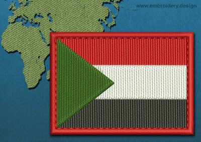 This Flag of Sudan Rectangle with a Colour Coded border design was digitized and embroidered by www.embroidery.design.