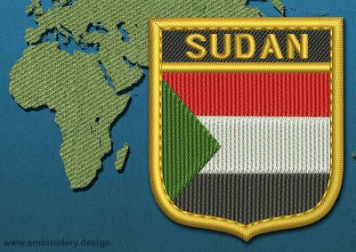 This Flag of Sudan Shield with a Gold border design was digitized and embroidered by www.embroidery.design.