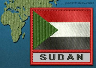This Flag of Sudan Text with a Colour Coded border design was digitized and embroidered by www.embroidery.design.