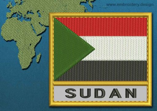 This Flag of Sudan Text with a Gold border design was digitized and embroidered by www.embroidery.design.