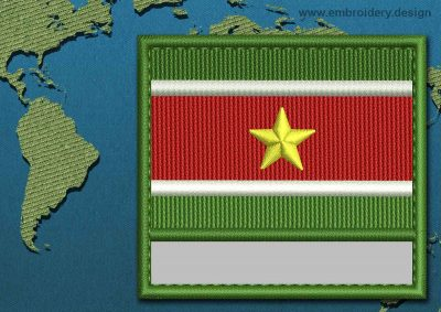 This Flag of Suriname Customizable Text  with a Colour Coded border design was digitized and embroidered by www.embroidery.design.