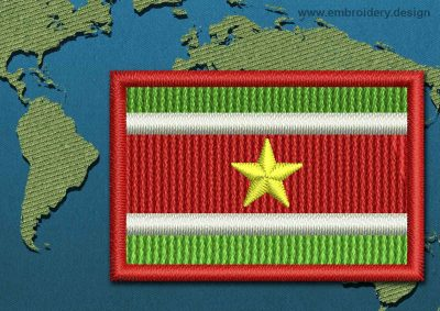 This Flag of Suriname Mini with a Colour Coded border design was digitized and embroidered by www.embroidery.design.