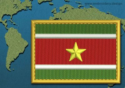 This Flag of Suriname Rectangle with a Gold border design was digitized and embroidered by www.embroidery.design.