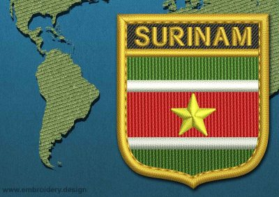This Flag of Suriname Shield with a Gold border design was digitized and embroidered by www.embroidery.design.